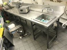1 x Stainless Steel Prep Bench With Food Prep Sinks, Mixer Taps and Drop In Perforated Wash Bowl -