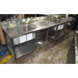 1 x Commercial Kitchen Wash Station With Two Large Sink Bowls, Mixer Taps, Spray Wash Guns, Drainer,