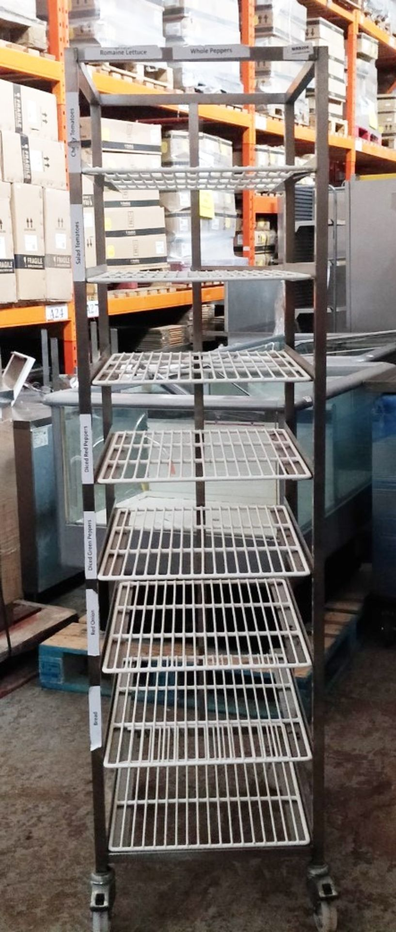 1 x Commercial Kitchen Upright Mobile Tray Rack With Eight Wire Racks - Size to Follow - Recently - Image 2 of 3
