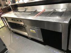 1 x Large Stainless Steel Kitchen Food Warming Unit On Castors - Size H90 x W236 x D86 cms - CL554 -