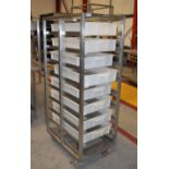 1 x Stainless Steel Upright Mobile Fish Tray Stand With Nine Perforated Stainless Steel Trays - Size