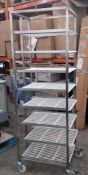 1 x Commercial Kitchen Upright Mobile Tray Rack With Eight Wire Racks - Size to Follow - Recently