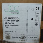 1 x JCC Lighting ARCADIA Single Head STREET LIGHT POST 0 200w E27 - IP44 Rated - Traditional Full
