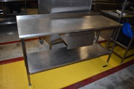 1 x Stainless Steel Prep Bench With Drawer and Undershelf - H87 x W170 x D65 cms - CL626 - Ref MS304
