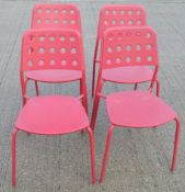 5 x Emu Branded Italian Made Outdoor Metal Stackable Bistro Chairs In Magenta (Hot Pink) -