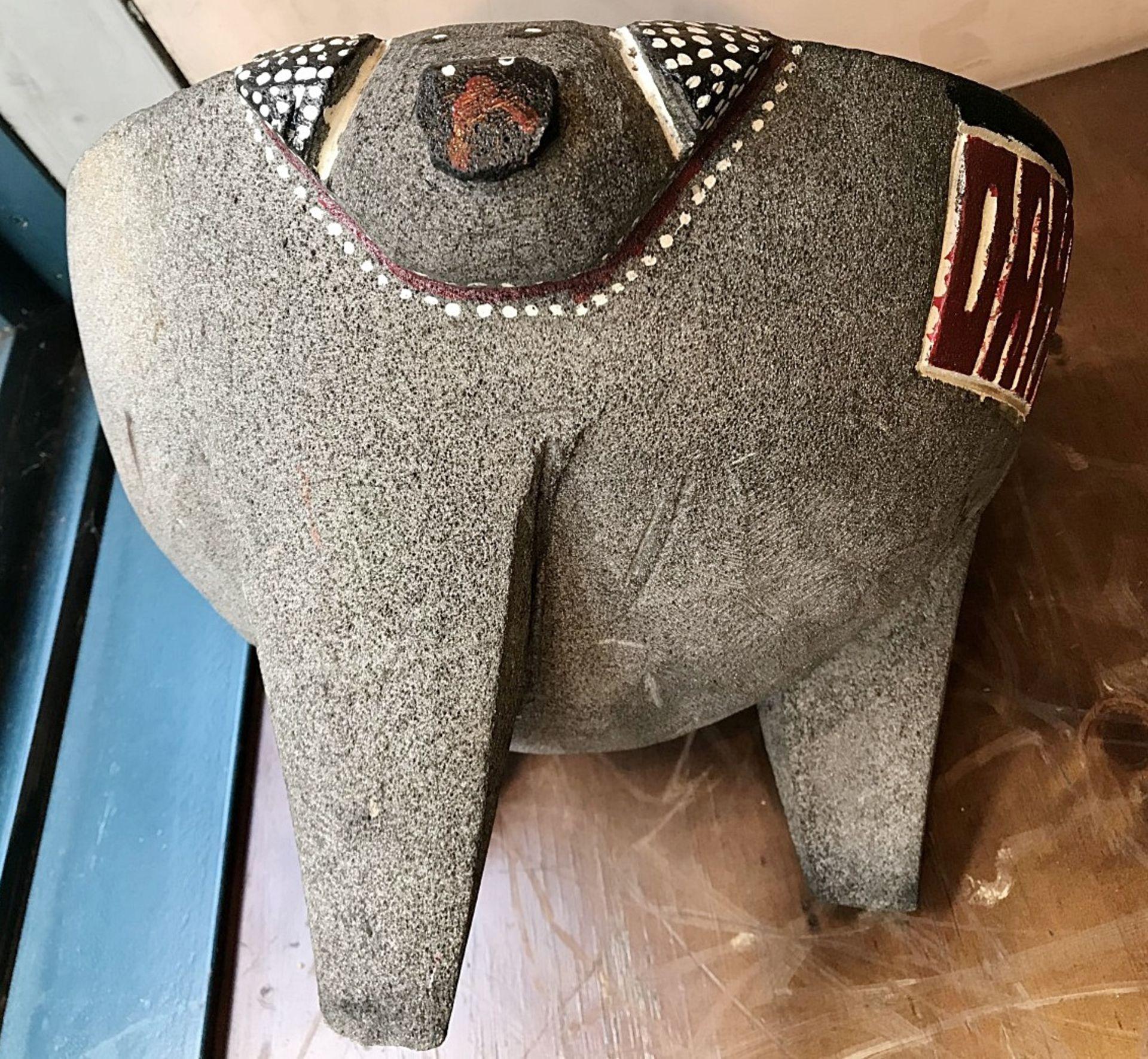 1 x Stone Pig Style Dahaca Folk Art Griding Bowl - Size H30 x W40 cms - CL554 - Ref IM195 - - Image 5 of 5