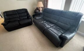 3-Piece Sofa Set In Black - Includes 1 x 3-Seater Sofa, 1 x 2-Seater Sofa & 1 x Footstool - From