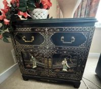 1 x Vintage Chinese Glass Topped Unit Featuring Embosed Figures - Dimensions: 61 x 40 x H60cm