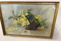 1 x Original Painting Of Yellow Roses - Signed 'K.S. Sept 1912' - Dimensions: 49 x 34cm - From An