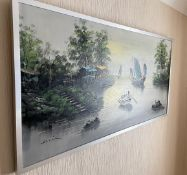 1 x Original Painting Of A River Scene In A Silver Frame - Signed By The Artist - Dimensions: 125