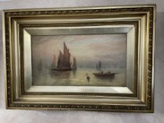 1 x Framed Original Painting Of Ships On The Ocean - Signed By H Morton In The Corner