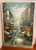 1 x Picture Depicting An Oriental Street Scene - Signed WEST - Dimensions: 65.5 x 96.5cm