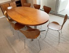 1 x Genuine Vintage FRITZ HANSEN Designer Dining Table With 8 x Chairs - Dated 1970