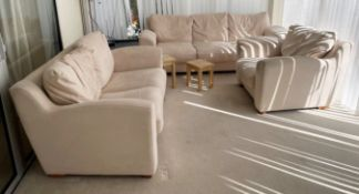 1 x 3-Piece Cream Sofa Set Plus A Selection Of Tables And Foot Stool - From An Exclusive Property In