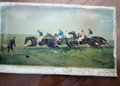 1 x Vintage Picture Of Horse Racing In Clear Clip Frame - From An Exclusive Property In Leeds -