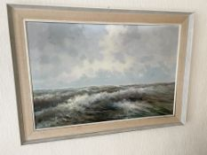 1 x Original Framed Painting Of The Sea - Dimensions: 106 x 76cm - From An Exclusive Property In