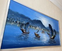 1 x Original Framed Oil Painting Featuring An Oriental River Scene In Blue Tones - Dimensions: 125 x