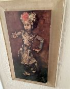 1 x Chinese Dancer Picture - Dimensions: 38cm x 6 x 11cm - From An Exclusive Property In Leeds -