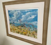 1 x Framed Picture Featuring A Field Of Flowers - Signed By The Artist Harmman - Dimensions: 75.5