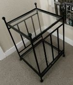 1 x Heavy Glass-topped  Wrought Iron Occasional Table - Dimensions: 36 x 36 x 58cm - From An
