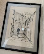 1 x Framed Limited Edition Sketch Featuring A Rabbi Walking And The Walls Of Jerusalem  - No. 21/500