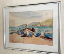 1 x Framed Watercolour Painting Of Boats At Collioure, 1950 - Signed By The Artist Philip Naviasky -