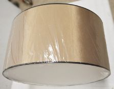 1 x CHELSOM Commercial Suspended Ceiling 3-Light Fitting With A 69cm Gold Silk Round Drum Shade -