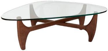 1 x 'MERONO' Isamu Noguchi / Herman Miller Inspired Designer Glass Topped Coffee Table