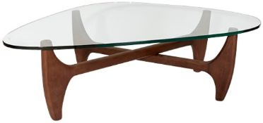 1 x 'MERONO' Isamu Noguchi / Herman Miller Inspired Designer Glass Topped Coffee Table With