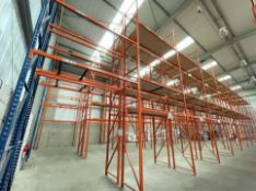11 x Bays of RediRack Warehouse PALLET RACKING - Lot Includes 12 x Uprights and 62 x Crossbeams -
