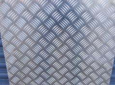 1 x Aluminium Tread Checker Plate - Size 125 x 50.5 x 0.3 cms - None Slip Floor Plate Suitable For