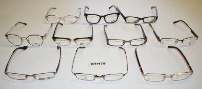 10 x Assorted Pairs of Designer Spectacle Eye Glasses - Ex Display Stock - Ref: GTI179 - CL645 -