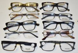 10 x Assorted Pairs of Designer Spectacle Eye Glasses - Ex Display Stock - Brands Include Diesel,