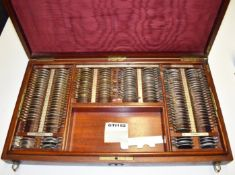 1 x Set of Vintage Opticians Lenses in Mahogany Wooden Case - Ref: GTI152 - CL645 - Location: