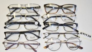 10 x Assorted Pairs of Designer Spectacle Eye Glasses - Ex Display Stock - Brands Include Jasper