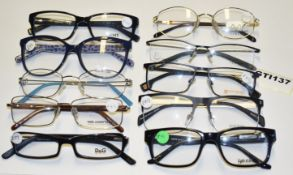 10 x Assorted Pairs of Designer Spectacle Eye Glasses - Ex Display Stock - Brands Include DKNY, Love
