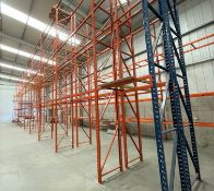 10 x Bays of RediRack Warehouse PALLET RACKING - Lot Includes 11 x Uprights and 52 x Crossbeams -