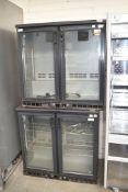 2 x Gamko MG250G Two Door 90cm Wide Backbar Bottle Coolers - Recently Removed From Restaurant