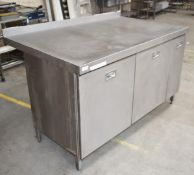 1 x Stainless Steel Commercial Cabinet Prep Table - Recently Removed From Major Super Market Store -
