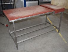 1 x Butchers Chopping Block Unit With Two Plastic Chopping Blocks on Stainless Steel Stand -