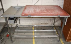 1 x Chopping Block With Drainer on Stainless Steel Stand - Suitable For Butcher or Fishmonger -
