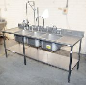 1 x Stainless Steel Commercial Kitchen Triple Pot Wash Sink Unit With Spray Arm - Dimensions: H97