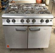 1 xFalcon 6 Burner Dominator Plus Oven Range G3101 Natural Gas with Castors- Dimensions: H90 x W90