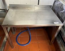 1 x Stainless Steel Prep Table With Upstand - Dimensions: H45 x W67 x D38 cms - Ref: BLVD142 - CL649