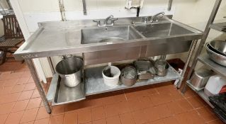 1 x Stainless Steel Vogue Commercial Wash Basin Unit With Twin Sink Bowl, Mixer Taps, Upstands,