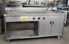 1 x Commercial Kitchen Stainless Steel Food Warming Unit With Large Baine Marie Countertop and Hot