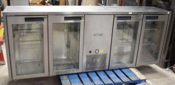 1 x Williams Topaz Four Door Backbar Bottle Cooler With Countertop - Model TBB4GSS