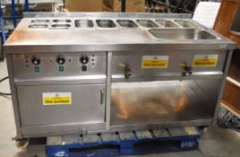 1 x Commercial Kitchen Stainless Steel Food Warming Unit With Large Baine Marie Countertop