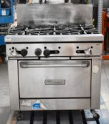 1 x Garland Commercial 6 Burner Gas Range Cooker With Stainless Steel Exterior - Size H90 x W90 x