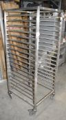 1 x Grundy Stainless Steel Upright 18 Tier Mobile Tray Stand - Unused - Ref JP136 WH2 - Location: